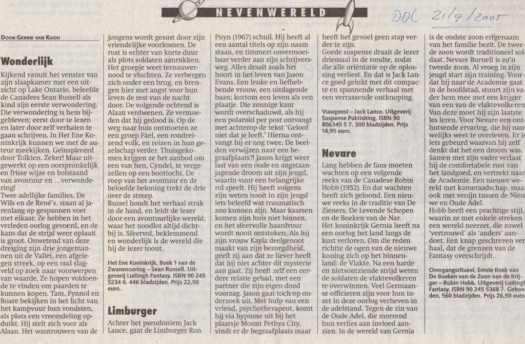 Dagblad De Limburger 21-09-2005